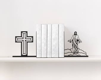 Jesus Christ U0026 Holy Cross Bookends Christian Book Ends Christian Gifts Book  Shelf Metal Bookends Book