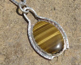 B-21 Tigereye Brass Sterling Metalsmith Pendant Necklace, Tigereye Pendant, Metalsmith Pendant, Tigereye Jewelry, Metalsmith Jewelry