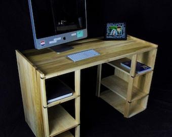 Modern Open Concept Desk in Solid Poplar