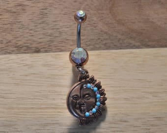Blue Simulated Turquoise Stone Sun and Moon Aurora Borealis Double Gem Dangle Belly Button Ring Navel Body Piercing Jewelry