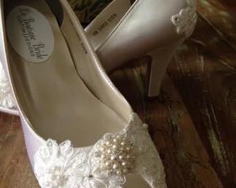 SALE Victorian Custom Made Lace Bridal Pump Shoe peep Toe Platform Mid Heel All Lace Covered Satin Platform