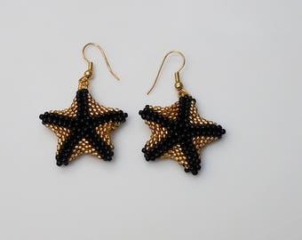 Starfish Earrings-Beaded Earrings - Peyote Earrings - Statement Earrings - Drop Earrings - Fashion Earrings - Bead Drop Earrings - Gold