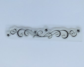 New for Rubber Stamping & Handmade Cards 1 Clear Acrylic Stamp Flourishes with flowers