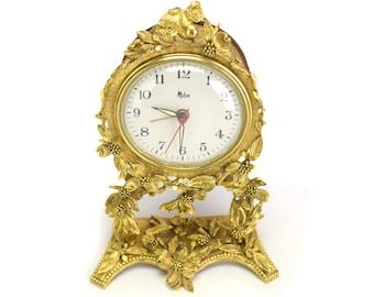 Vintage 24k Gold Matson Clock - Hollywood Regency Electric Desk Table Clock - Baby Blue Gold - Glow Night Light Ormolu Bird Dogwood Blossom