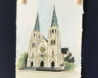 The Cathedral of St. John the Baptist Savannah, GA - Pen and Ink Art Print Drawing - Hand Painted Watercolor Print or Line Drawing