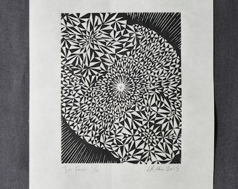 Two forces   Original handmade linocut print   Black and white   Abstract geometric pattern   Limited edition art