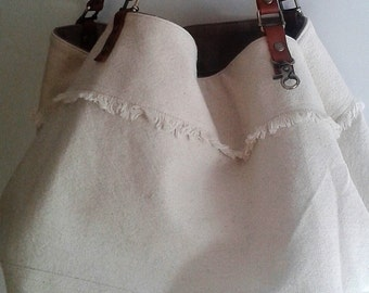 off white hemp and leather reversible tote bag