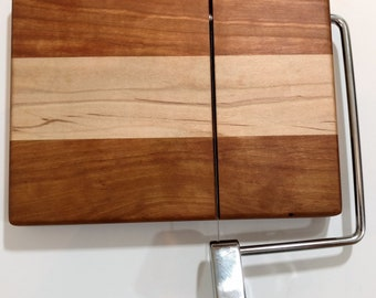 Hardwood Cheese Slicing Boards with Stainless Steel Cutting Arm and Wire, Custom, Handmade in One Person  Shop