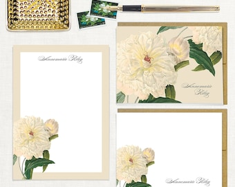 complete personalized stationery set - WHITE PEONY - customized note cards - notepad - stationary - peonies - flower - floral - botanical