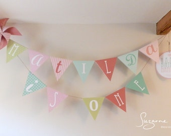 Personalised Bunting, bunting, pink bunting, pastel bunting, party decorations, paper decor, paper bunting, nursery bunting, bright bunting