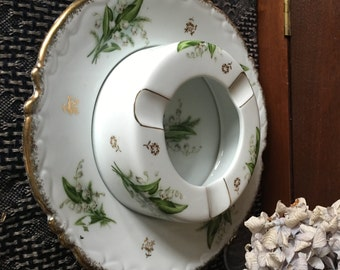 Hand Painted Tobacciana Ashtray - China - Ash Tray Receiver - Japanese - Lily of the Valley - Nikoniko China - Two Piece Gold Trim
