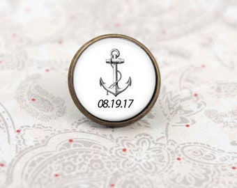 Anchor Lapel Pin, Nautical Tie Tack for the Groom, Personalized with Wedding Date