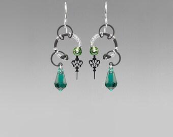 Emerald Swarovski Crystal Steampunk Earrings, Green Crystal, Swarovski Earrings, Wedding Jewelry, Green Crystal Earrings, Aphrodite II v7