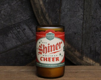 Upcycled Craft Beer Bottle Candle, Recycled Shiner Holiday Cheer Beer, Unique Beer Decor, Man Cave, Beer Gift, Gift for Him, Man Candle
