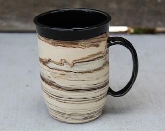 marbled mug, handmade mug, pottery mug, ceramic mug, black and white mug