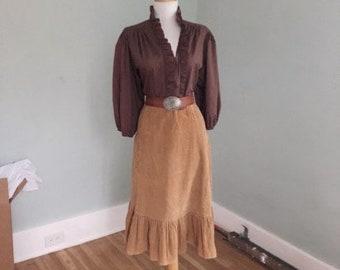 VINTAGE 60s 70s Brown Corduroy Ruffle Skirt | Rockabilly Brown Prairie Skirt | Hippie BoHo Denim Western Corduroy Skirt Size Medium Large