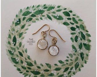 Fynn Druzy Drops — gold white iridescent quartz dangle earrings, minimalist minimal elegant dainty nashville boho christmas stocking stuffer