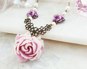 Bridesmaid Jewelry Set Pearl - Violet Flower Necklace - White Pearl Dangle Earrings - Swarovski Pearl Necklace - Bridal Party Jewelry S1037