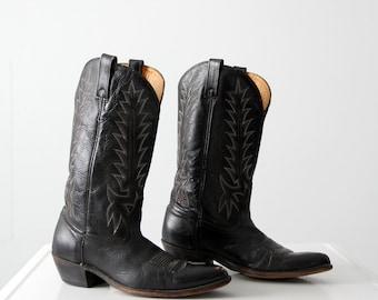 black cowboy boots, vintage Acme leather boots, men's size 10