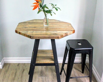 "Counter Height Reclaimed Wood Tabletop - 26"" Octagon"