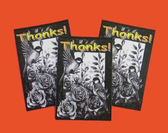 20 Thank You Cards. Beautiful Bird and Flowers in Black and White. 20 Thank You Tags. 5243