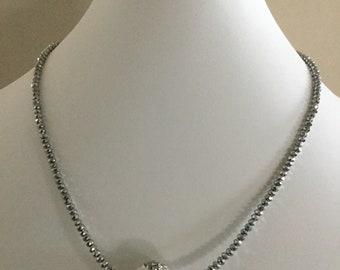 White Pendant Necklace with Silver Czech Glass Bead Chain