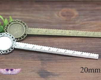 Blank Ruler - 20mm Rule BookMark Blank - Round Gass Pendant Base-Teacher's Book Marks - 10PCS- Rule Blanks