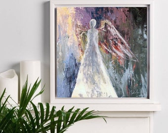 """Angel print, original oil painting, Giclee print, Abstract, Angel Painting Canvas Print """"Who Are These Angels XXXVIII"""""""