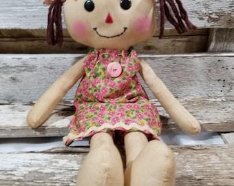 Raggedy Annie Krista Annie Primitive Doll Raggedy Ann Pink Floral Pillow Dress Annie Doll Ready To Ship!
