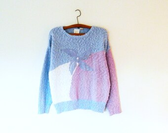 Vintage Periwinkle and Lavender Boucle Slouchy Sweater / Oversized 80s Sweater / Cozy New Wave Floral Pastel Sweater