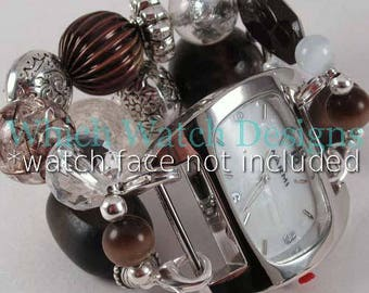 Chocolate Kiss.. Chunky Brown and Clear Interchangeable Watch Band, Silver Plated, Stretchy