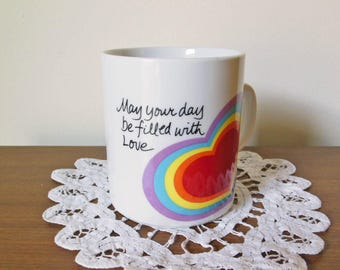"""Love mug - Vintage Avon Easter 1983 """"May your day be filled with love"""" mug - Valentine's Day gift - colorful rainbow heart coffee tea cup"""