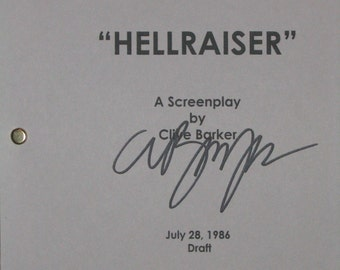 Hellraiser Signed Movie Film Script Screenplay X2 Autograph Clive Barker Andrew Robinson signature Horror film classic