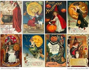 Vintage Halloween Postcards 1 - Instant Download Digital Collage Sheet