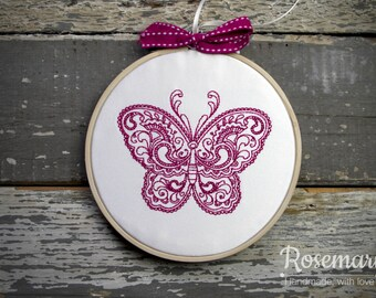 """Embroidered Indian Butterfly 5"""" Embroidery Hoop (design 1)"""