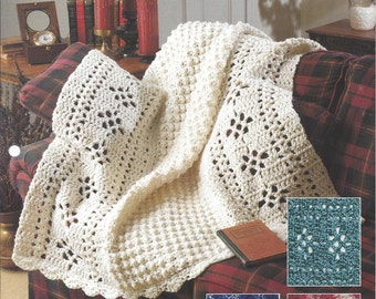 Crochet Pattern Aran Filet Afghan - The Needlecraft Shop Afghan Collector's Series - Home Decor, Throw, Bedding, Blanket, Bedspread