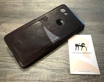 NEW For SALE 1 Piece Google Pixel 2 XL Italian Leather Case 3 cards slots to use as protection color 750 Dark Brown and grey