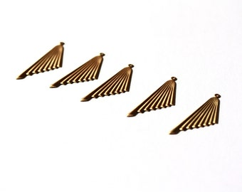 Gold Triangle Textured Pendants. Statement Charms. 5 Pieces.