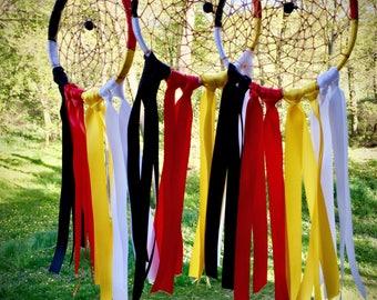 Four Directions Dreamcatcher - Satin Ribbons - Medicine Wheel - Lava Stone - Sioux - Lakota - Boho Decor - Boho Baby