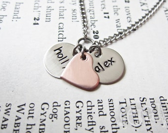 Custom Stamped Initial Letter Necklace with Copper Heart - Two Discs - Perfect Gift for Moms, Mommy, Mummy, Mum