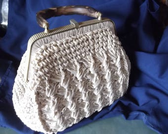 Vintage Lefcort Woven Straw Purse-Made In Italy-Wood Carved Handle-Gold Metal Color Top and Clasp