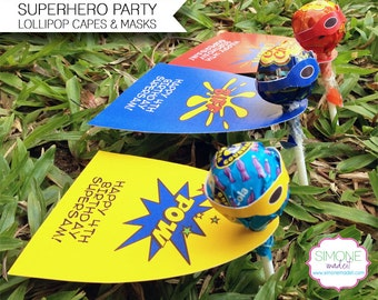 Superhero Lollipop Capes & Masks - Superhero Party Favors - INSTANT DOWNLOAD with EDITABLE text - you personalize the text yourself at home