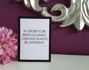 "Irreplaceable - Coco Chanel 5x7"" Blank Card"