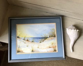 Framed Beach Landscape Painting   Sea Gulls and Dune Scene in Wood Frame   Vintage Seascape Watercolor Painting   Cottage Beach House Decor