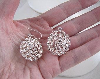 Unique Sterling Silver twist ball dangle earrings