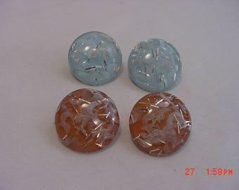 2 Sets Of Vintage Lucite Confetti Clip On Earrings  18 - 457
