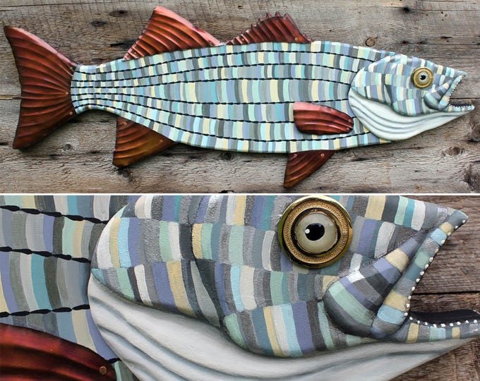 "30"" Striped Bass Wall Sculpture, Wood and metal fish art, Beach house decor, colorful folk art fish, handcrafted in Vermont, unique gift"