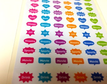 Planner stickers, Filofax,hobonichi,midair,tiny stickers,Erin Condren,S 24