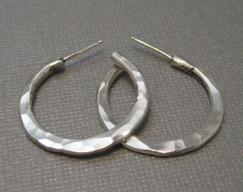 Small Sterling Silver Hammered Hoops, Handcrafted Sterling Silver Jewelry, Hammered Sterling 1 inch Hoops