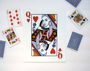 Queen B Illustration Music Art Print Queen Bey Playing Card Red White Blue 8x10 Print 8 x 10 Art